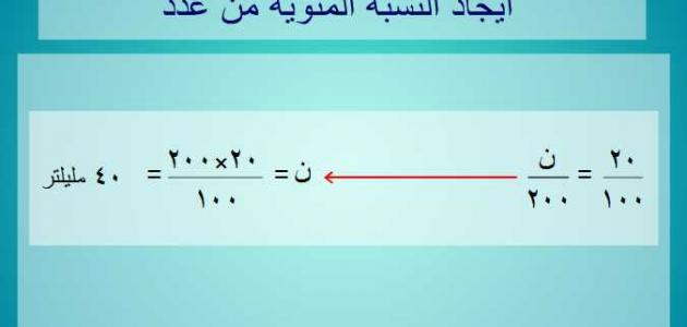 كيفية حساب النسبة المئوية بين رقمين حروف عربي